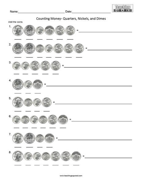 Counting Quarters Dimes and Nickels math worksheets teaching