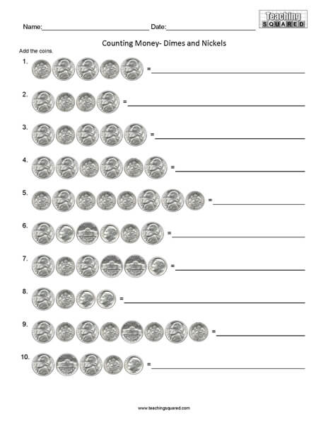 Counting Dimes and Nickels math worksheets teaching