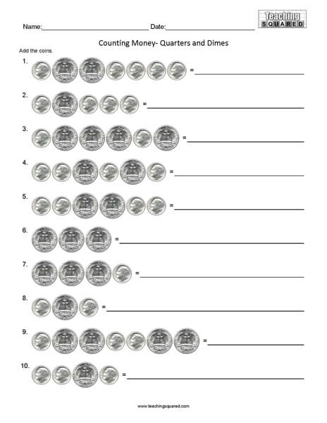 Counting Quarters and Dimes math worksheets teaching