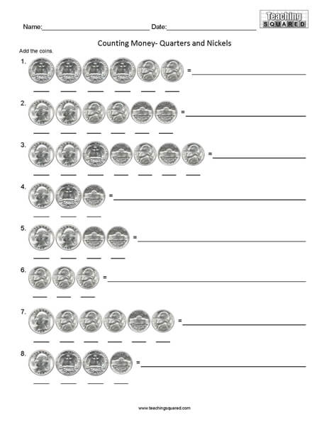 Counting Quarters and Nickels math worksheets teaching