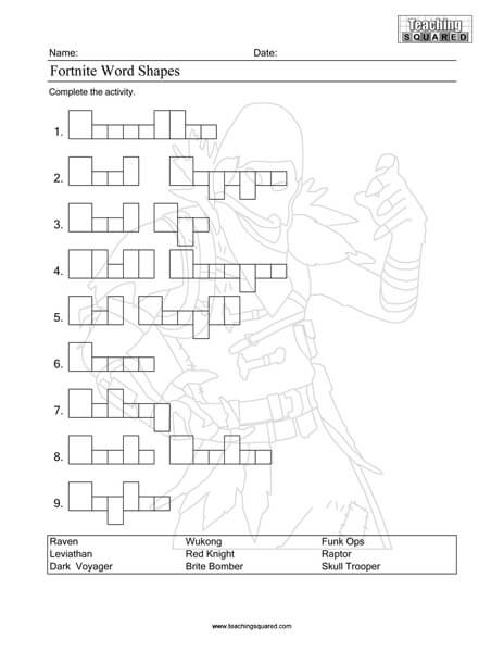 Free printable Fortnite activity