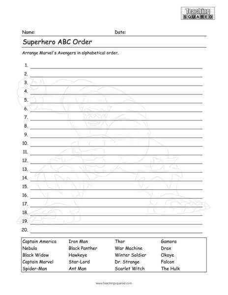 Avengers Worksheets Teaching Squared