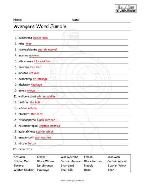 image about Printable Word Jumble known as Avengers Term Jumble Worksheet - Instruction Squared